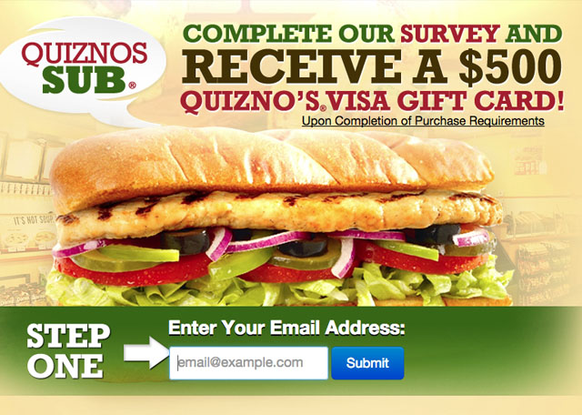 $100 Quiznos Gift Card